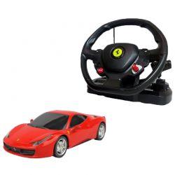 Rastar Radiostyrd Bil Röd Ferrari 458 Italia med stor ratt 1:14