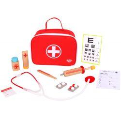 Doktorsväska leksak i trä till barn med tillbehör 11 delar Tooky Toy