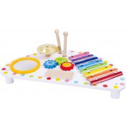 Multimusikstation i trä, slagverksinstrument för den lilla musikern Tooky Toy