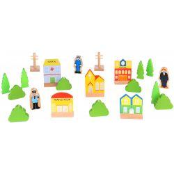 Tooky Toy Hus, träd och figurer till tågset
