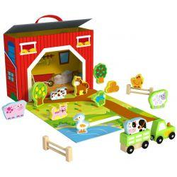 Leklåda bondgård med djur och tillbehör i trä, Tooky Toy