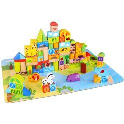 Byggklossar i trä med djungeltema 135 delar Tooky Toy