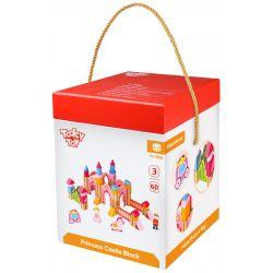 Byggklossar i trä, 60 delar, prinsessslott, Tooky Toy