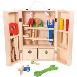 Verktygslåda i trä, leksak för barn, stort paket med många verktyg, Tooky Toy