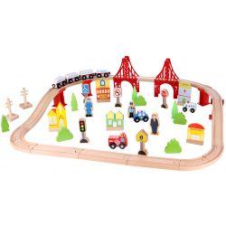 Tågbana i trä 55 delar Tooky Toy