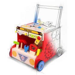 Gågavgn i trä med verktygslåda och förvaring, Tooky Toy