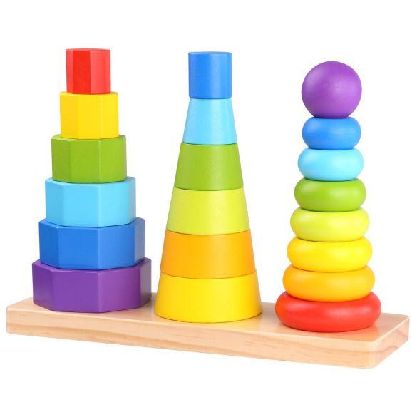 Tooky Toy Stapelleksak i trä geometriska former för barn