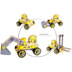 Bygg din egen hjullastare, truck, rullmaskin och grävmaskin Tooky Toy