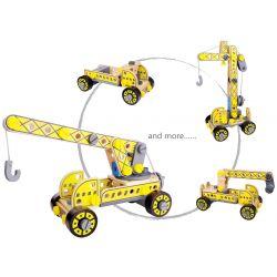 Leksaksbil och kranbilar 4 i 1 leksak i trä Tooky Toy