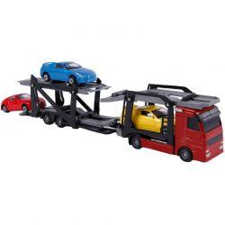 Kids Globe lastbil med trailer och tre bilar