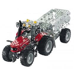 Traktor Massey Ferguson MF-5610 med trailer Byggmodell Metall 1:32 Tronico