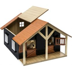 Kids Globe horse stable wood with 2 boxes and workshop 1:24