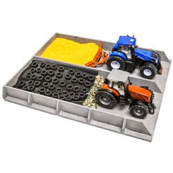 Kids Globe slotsilo wood, concrete look 38x46x5cm for tractors 1:32