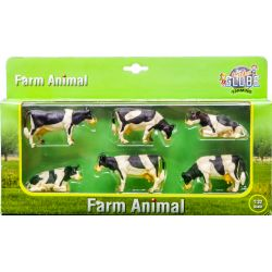 Kids Globe cow 1:32 black/white laying/ standing 6 pcs in giftbox